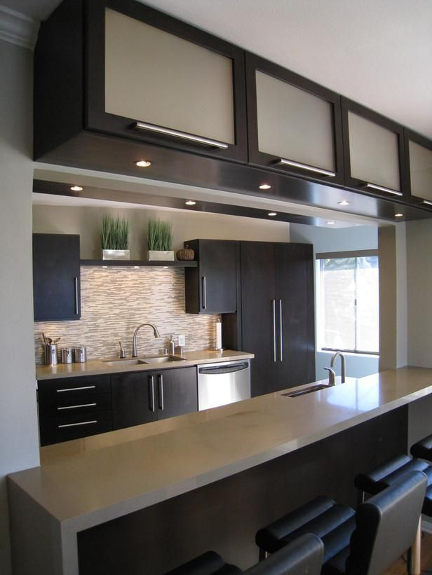 Frosted Glass Kitchen Cabinets with Sleek Finish