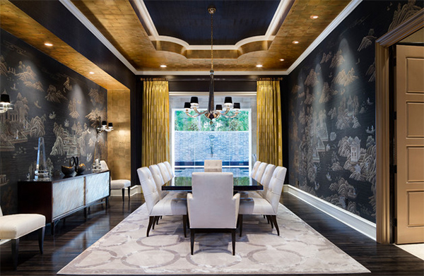 Gold Accents Dining Room Design