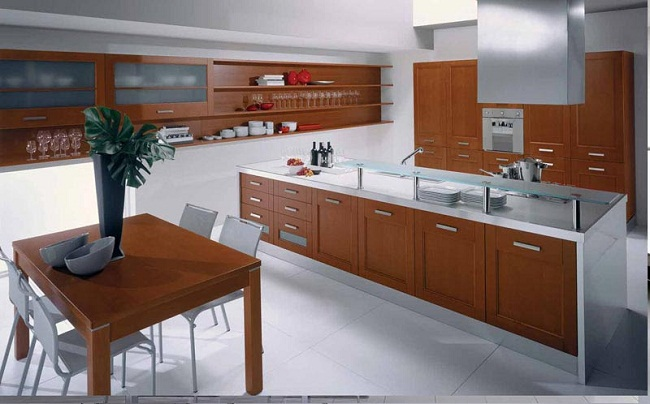 Modern Kitchen Cabinets with Wood Finish