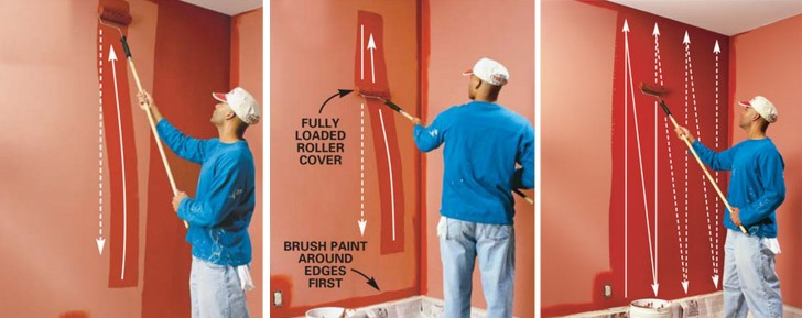 Roller Painting on a wall