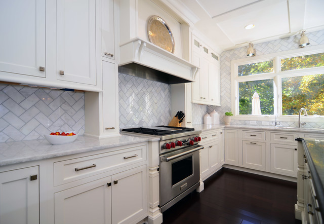 All white section with dark flooring