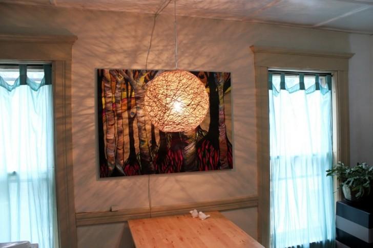 Hemp string pendant lamp