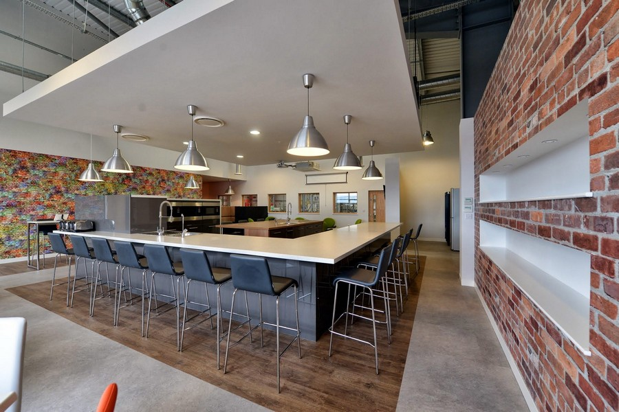 Surprising Modern Dining Table With Wonderful Brick Wall