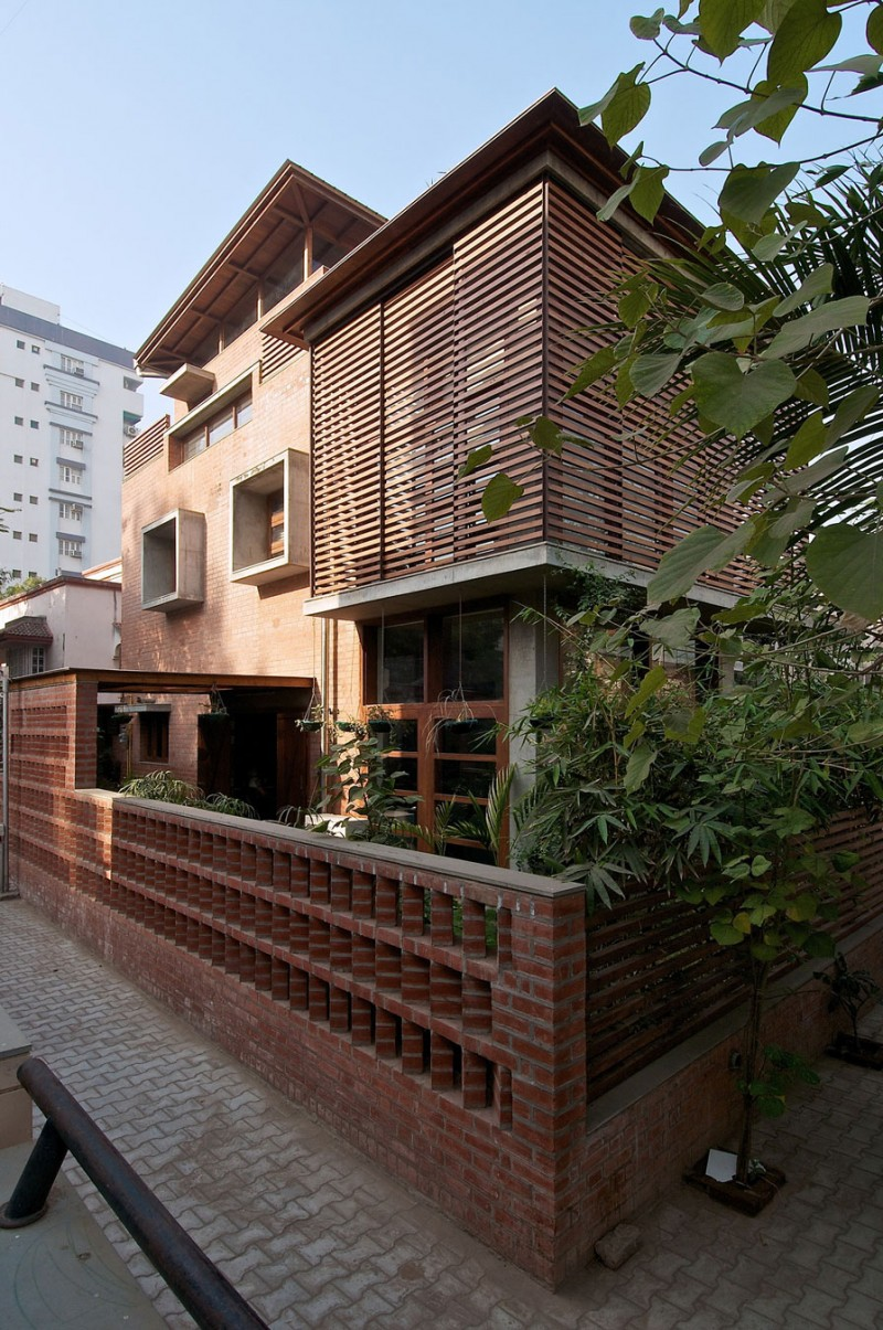 ecofriendly green home with brick walls in india
