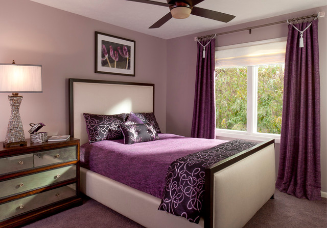 bewitching purple bedroom ideas for mansion bedroom 14455 | awesome purple bedroom ideas in contemporary bedroom with purple bed linen several black pillows and purple colored rug carpet
