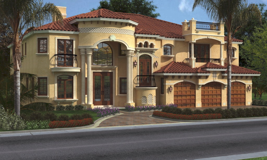 Cool luxurious house plans applied in large building style - Beautiful front designs of homes ...