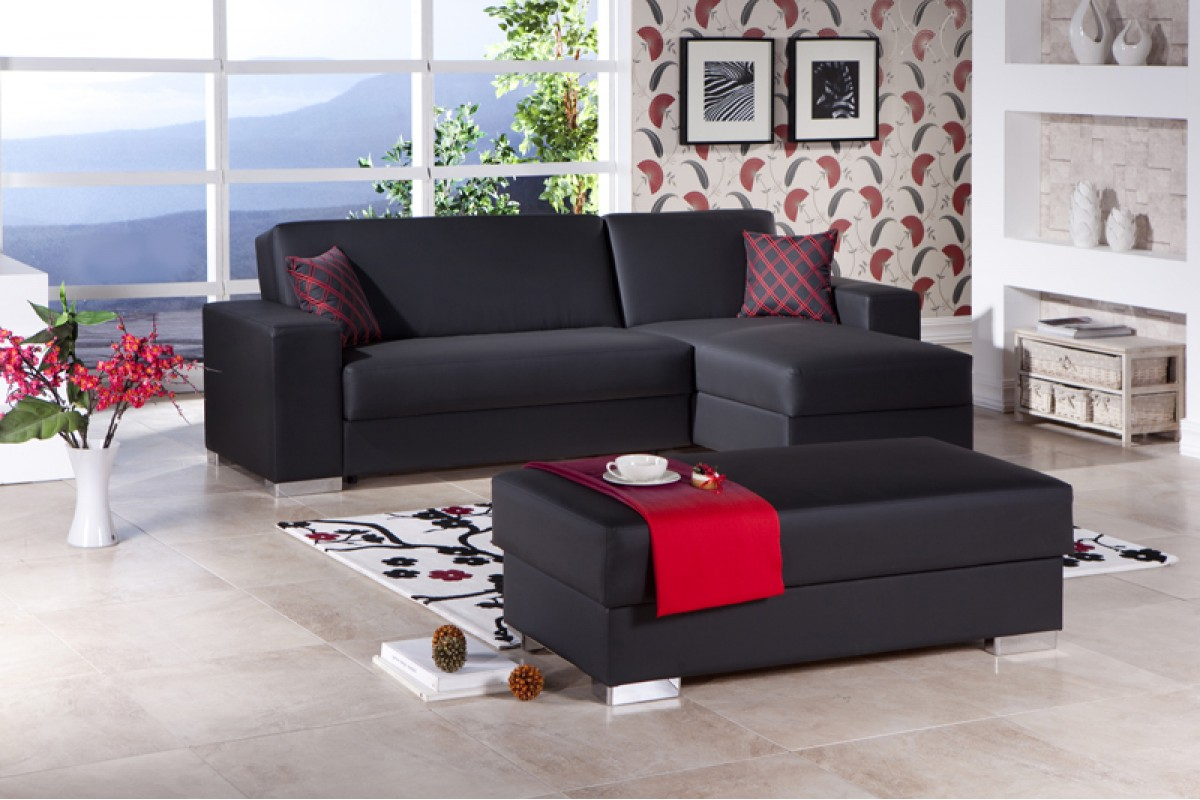 Substantial Convertible Sofa in Soft Color Combination ...