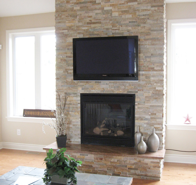 Small Family House: Inspiring Stone Fireplace Design For Contemporary Room