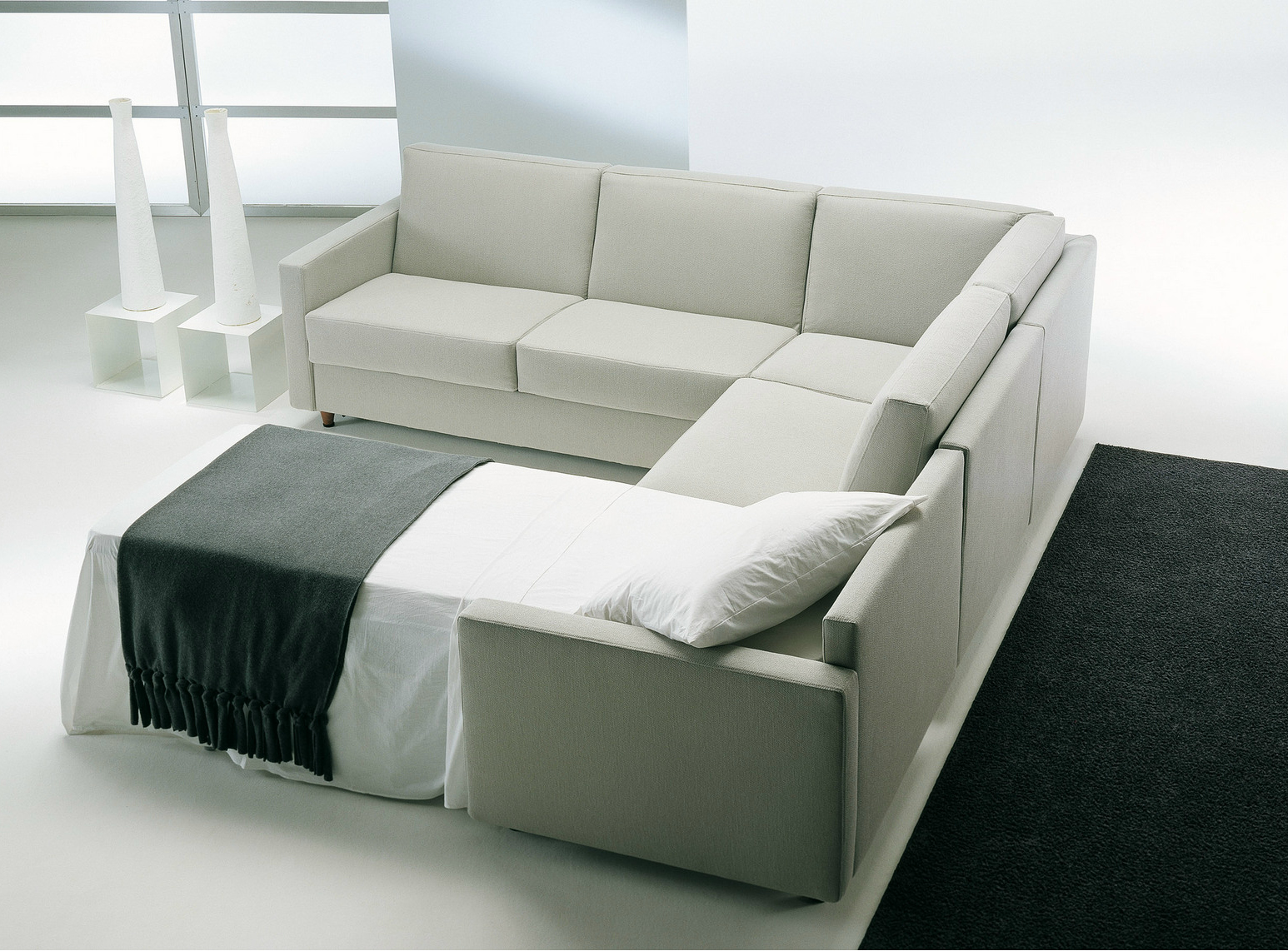 Substantial Convertible Sofa In Soft Color Combination