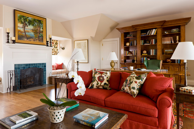 Catchy Red Sofa Which Creates Fashionable Living Spaces