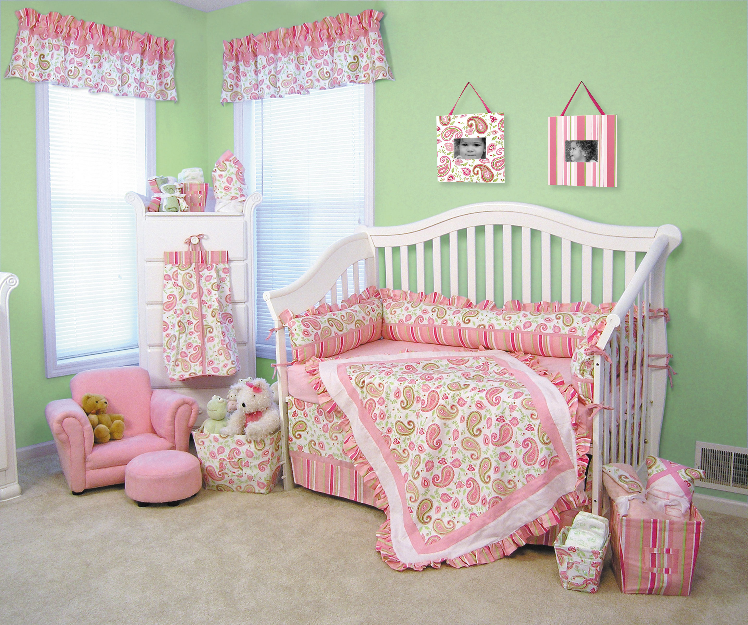 Interior Design Elegant Pink White Gray Baby Girl Room: Stunning Baby Girl Crib Bedding Designed In Magenta Color
