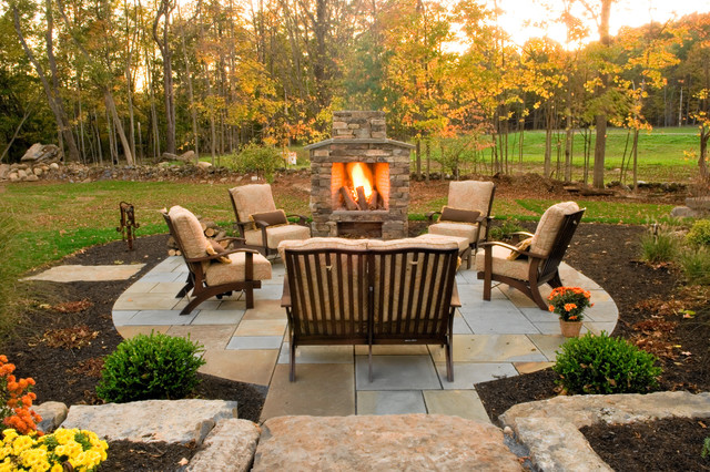 Rocky Outdoor Fireplace Designs For Stronger Exterior ... on Simple Outdoor Fireplace Ideas id=22209