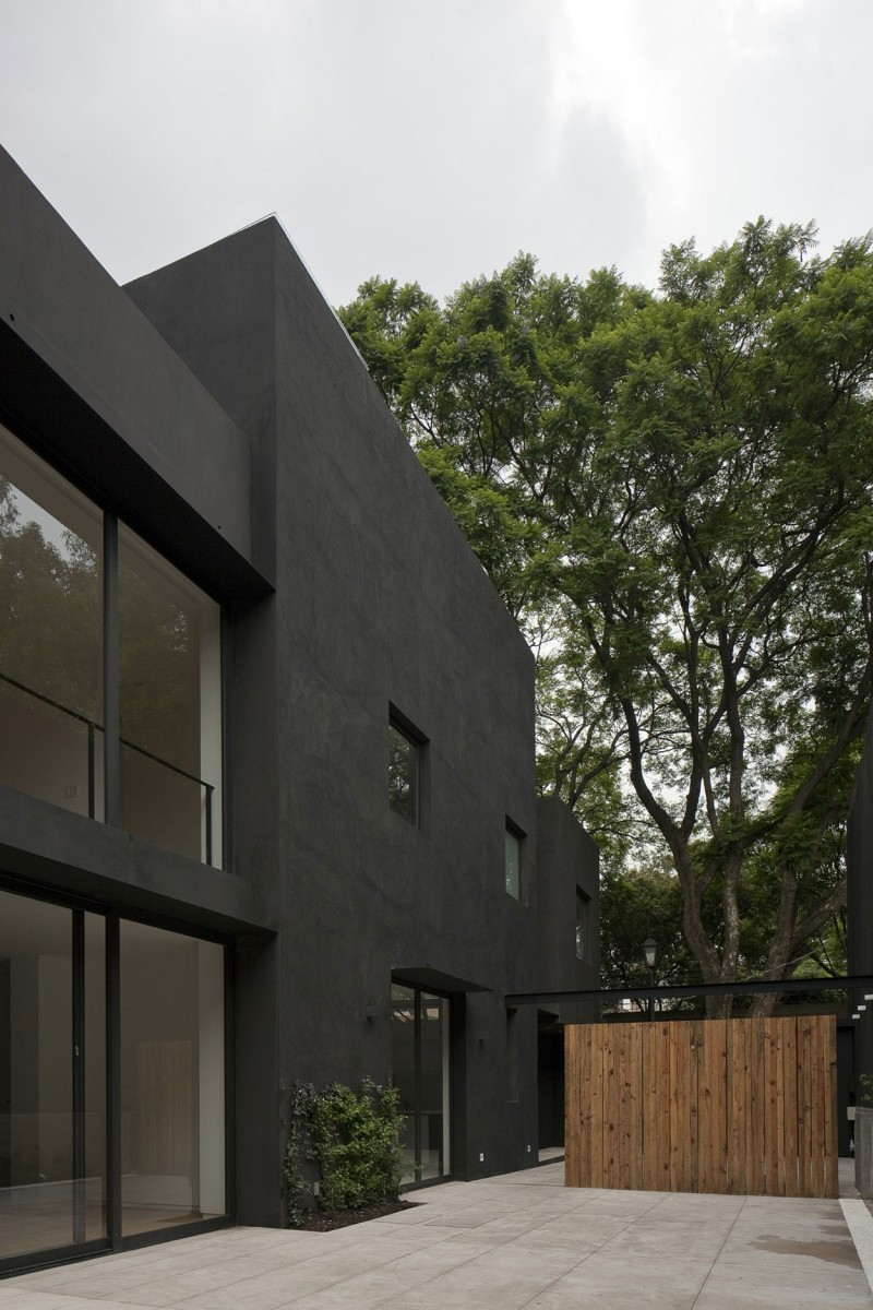 Exterior: Dramatic Black Painted Exterior Walls Balances The