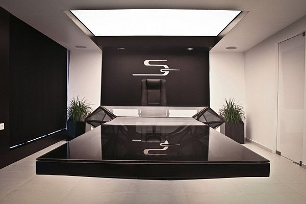 Modern Home Office Furniture Home Design Ideas Pictures: Modern Unique Desk Made With Contemporary Design In Black
