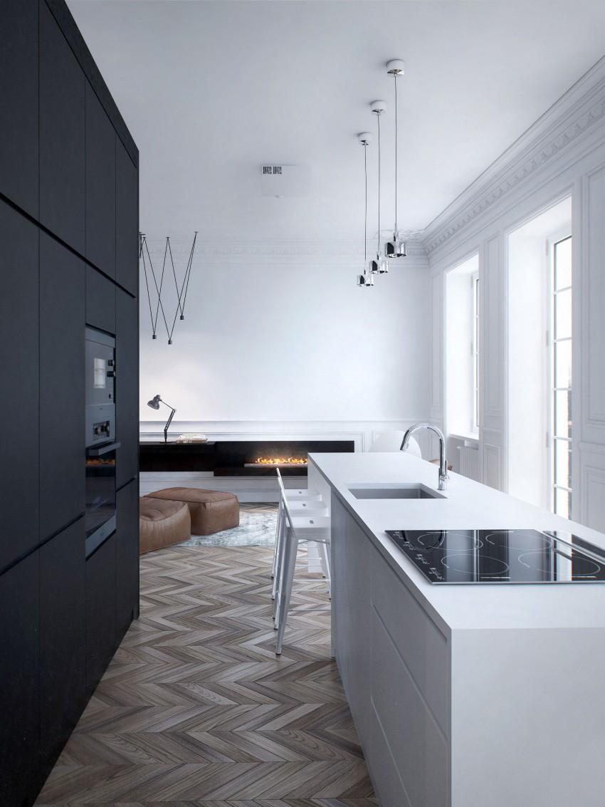 terrific black white minimalist apartment   Great Modern Apartment Design: Black and White Setting ...