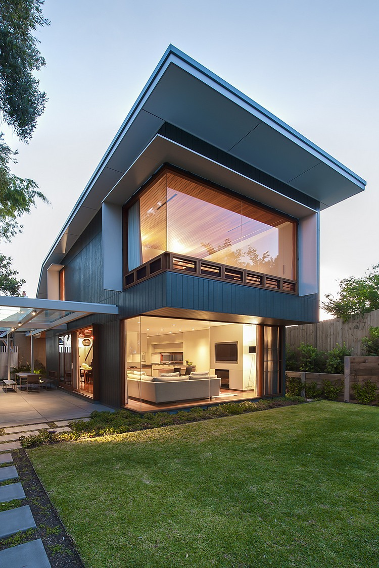 Stunning Modern House Exterior Design with Green Lawn at the Courtyard also Concrete Pathway Ideas - Get Small Modern Glass House Plans Images