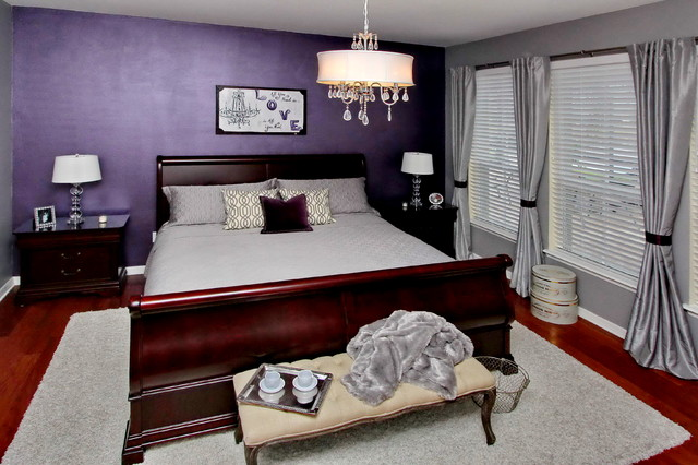 bewitching purple bedroom ideas for mansion bedroom 20777 | stunning purple bedroom ideas in traditional bedroom with grey bed linen several grey pillows and dark purple colored wall