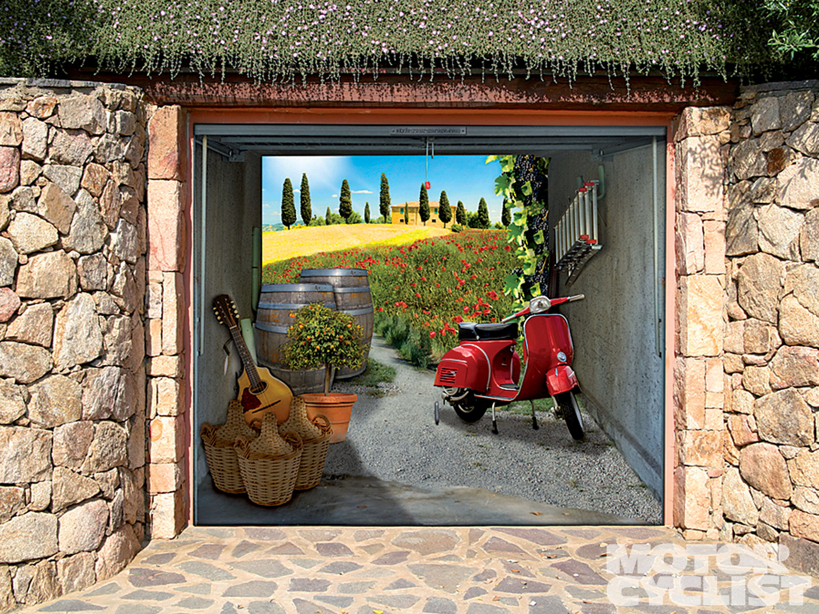 Glamour Garage Door Decals With Artistic Model Of Suburbs