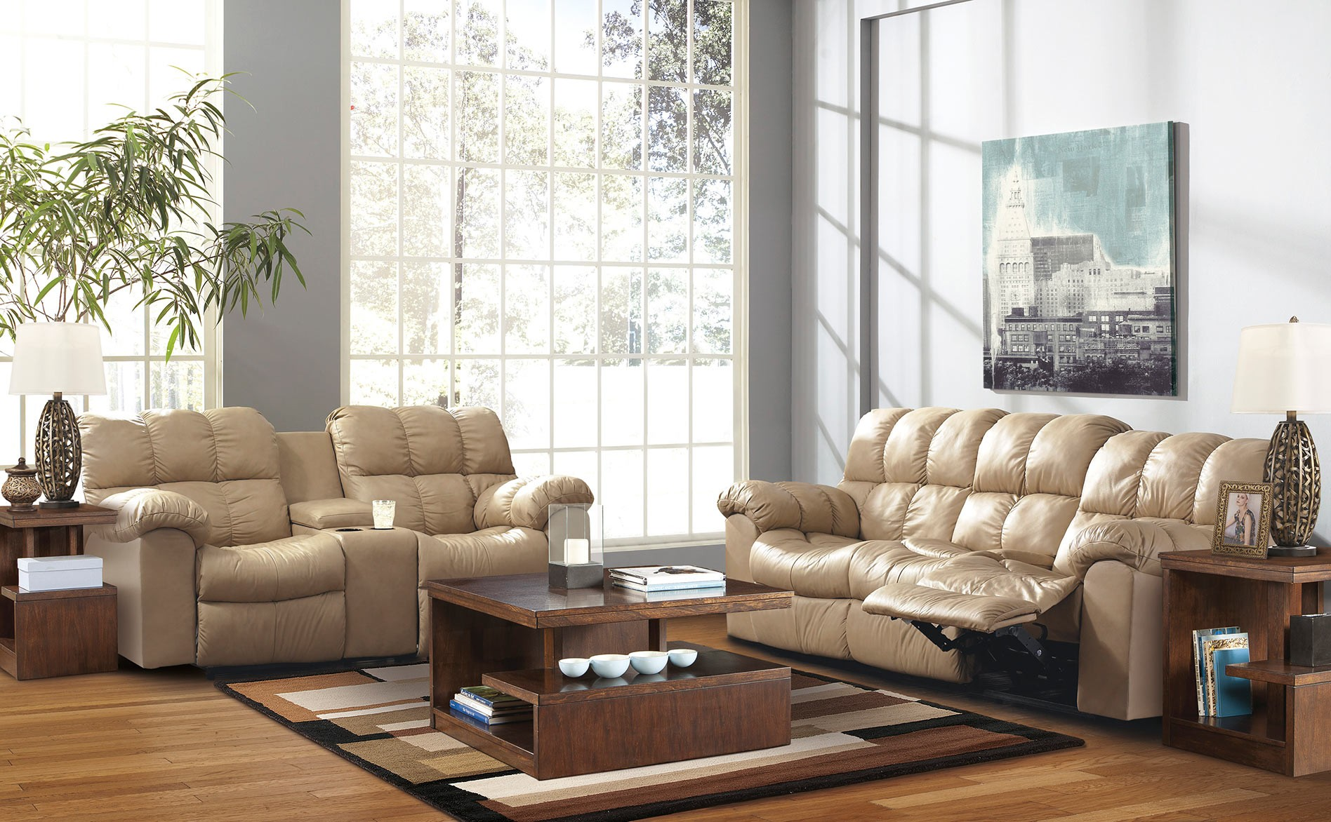 cream leather living room chairs comfortable reclining sofa for resting tired body 13608 | Unique Modern Living Room Design Interior with Cream Reclining Sofa Furniture Made from Leather Material