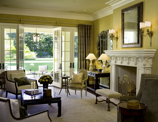 16 Stunning French Style Living Room Ideas: Attractive Fireplace Mantel Ideas Reflected In Fabulous