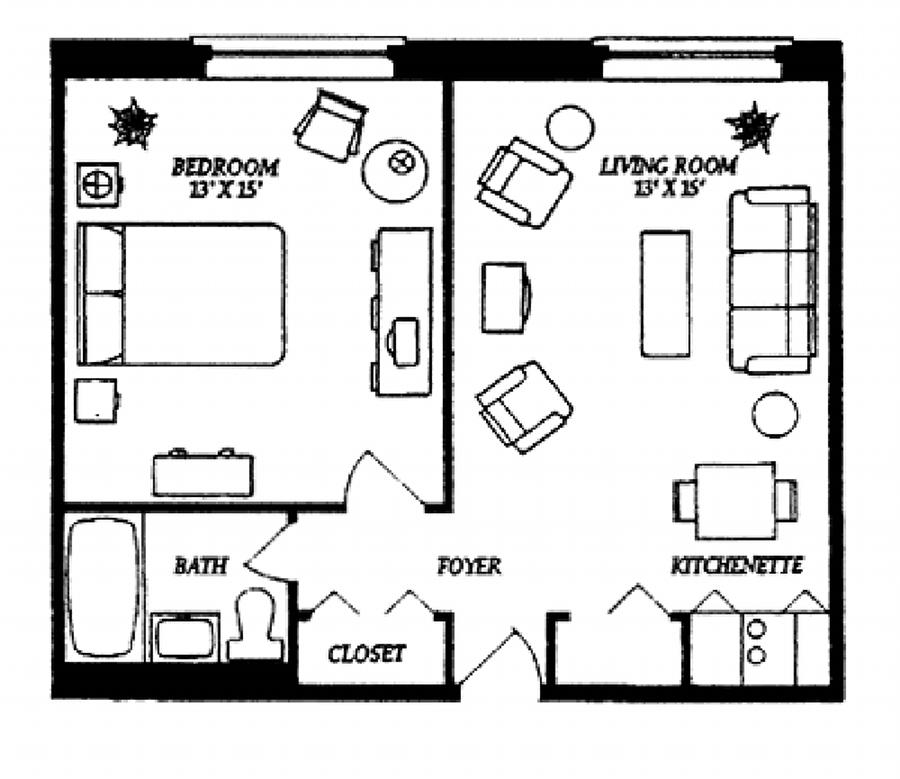 Stirring One Bedroom Apartment Floor Plans with a Pretty ...