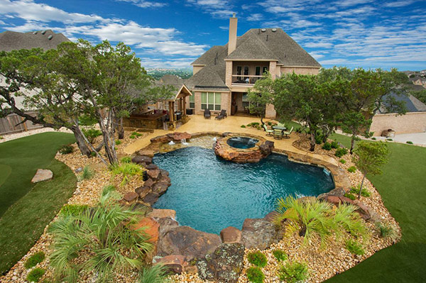 Alluring Stone Landscaping Swimming Pool