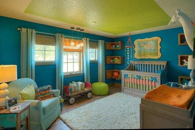 Beautiful Kids Bedroom Green Color Bloque Ceiling Design