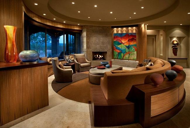 Beautiful Natural Wood Livingroom Curved Sofa