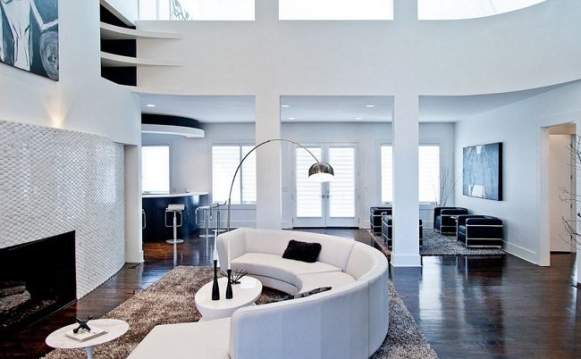 Black and White Living Room High Ceilings and Curved Sofa