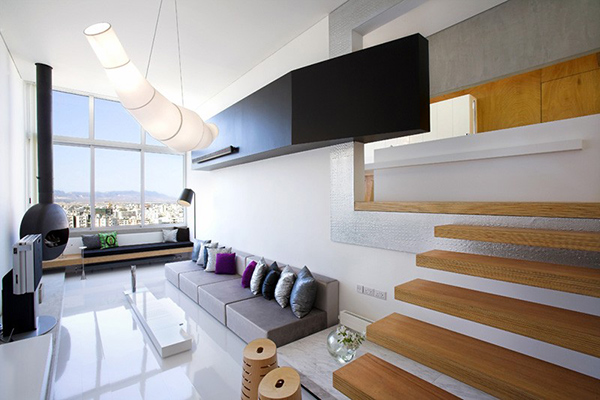 Cyprus Apartment Living Room with Wooden Staircase