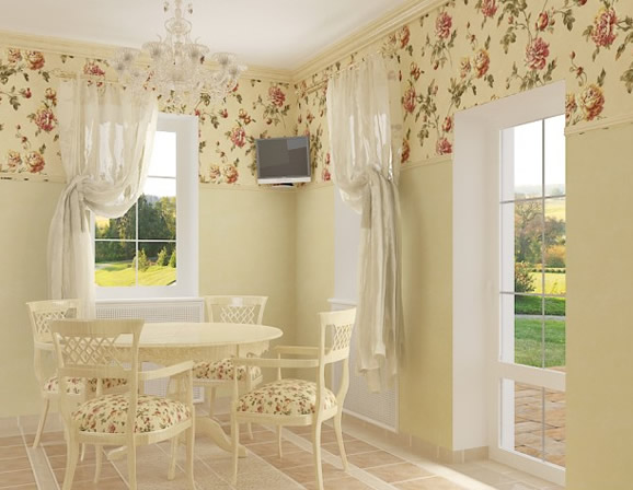 Floral Prints on Dining Chairs and Wall Murals