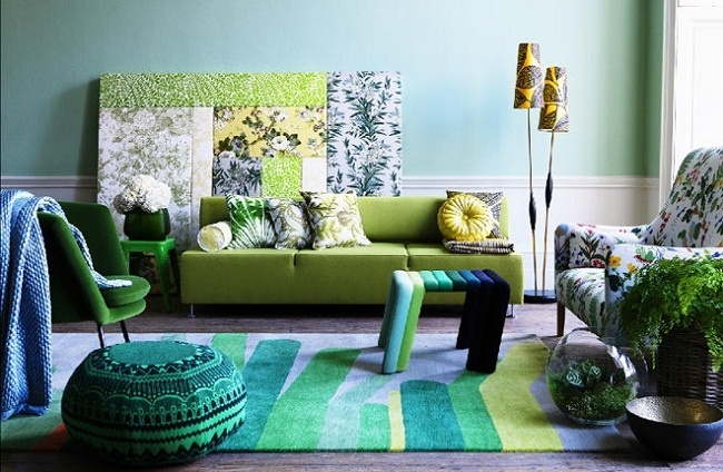 Interior Design with Green Blue Shades