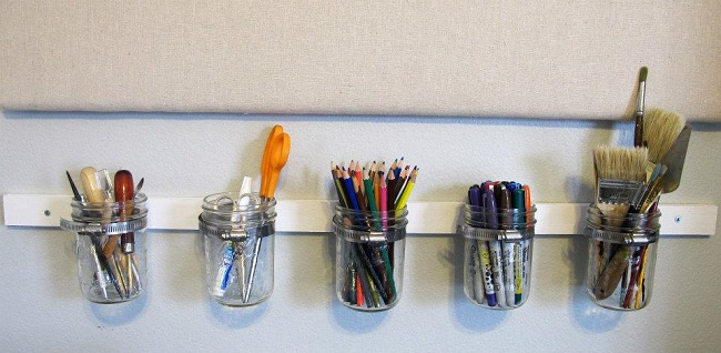 Mason Jars Pencil Organization