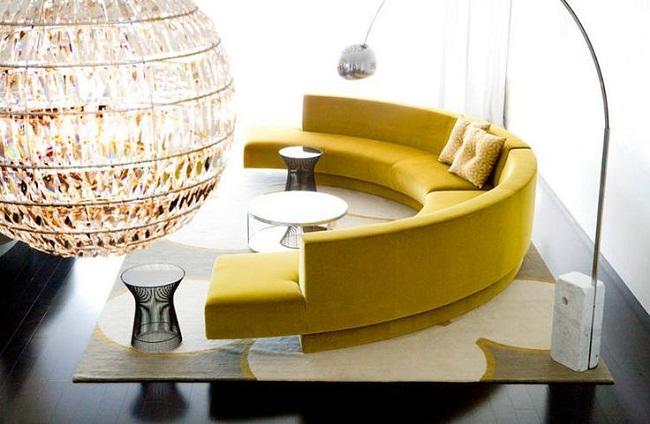 Mustard Curved Sofa