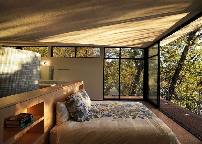 Narrow Porch and Floor to Ceiling Glass Walls Bedroom Design