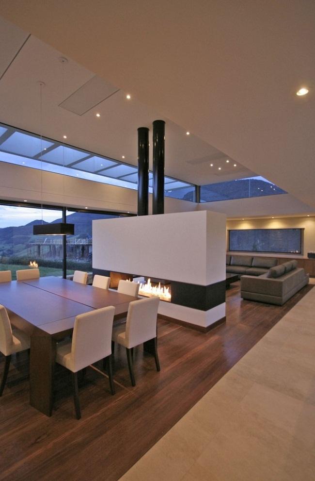 Open Floor Living Room Fireplace Divider