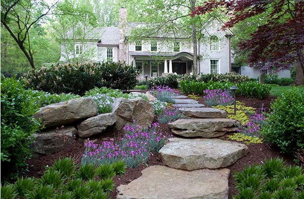 Outdoor Spaces with Alluring Stone Landscaping Cottage