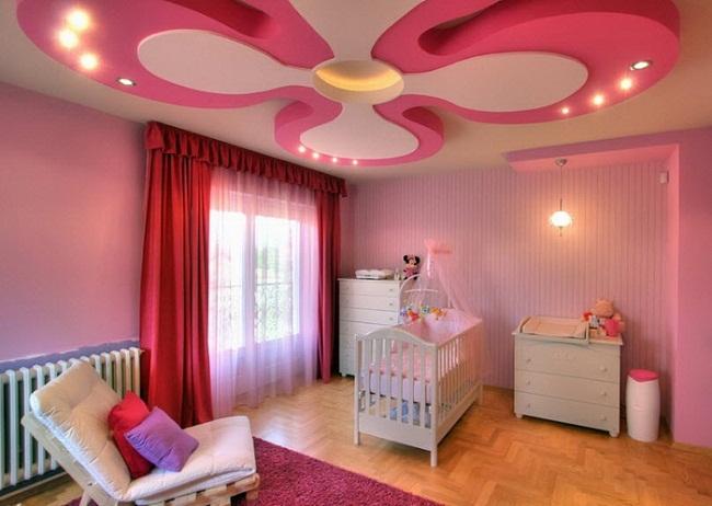 Pink Color Ceiling Design for Kids Bedroom