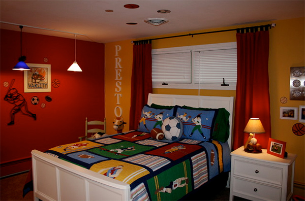 Red and Yellow Baseball Theme Bedroom Decoration with Letter