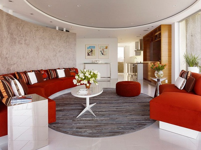 Round Ceiling and Walls Bold Couch Design