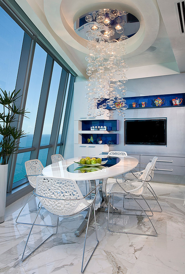 Stunning White Dining Set and Beautiful Bubble Pendant Light