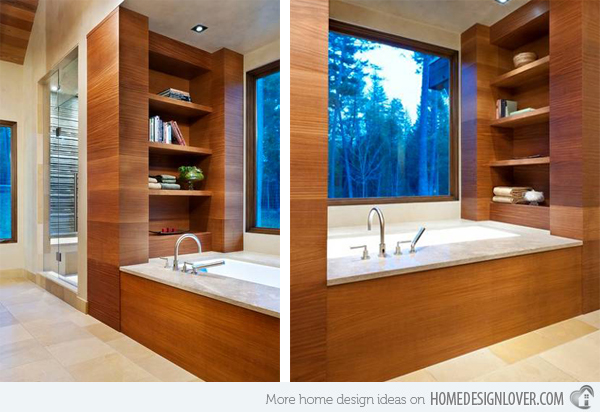 Wooden bath area