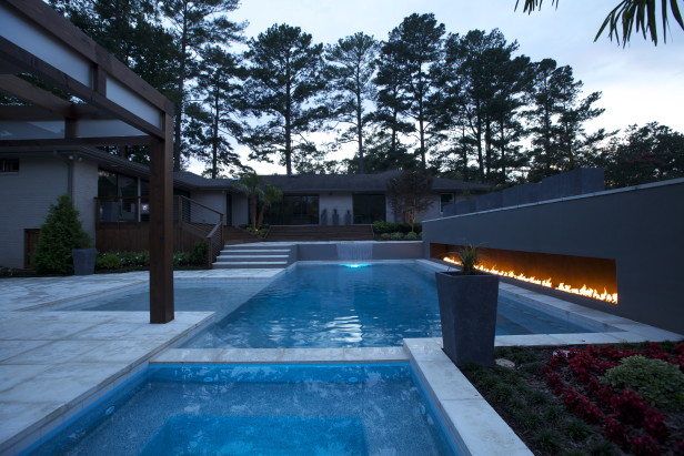 Backyard Firewall and Swimming Pool
