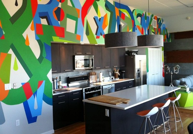Colorful Graffiti Wall in the Kitchen Area