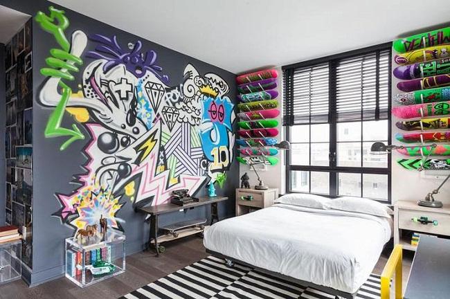 Graffiti Wall Design for Teenage Bedroom