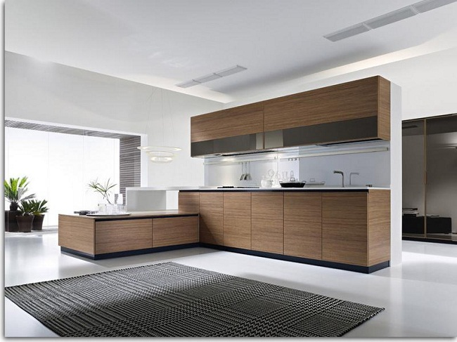 Large and Spacious Kitchen Brown Cupboards